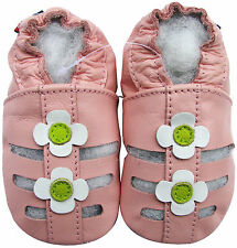 carozoo sandals pink white flower 18-24m soft sole leather baby shoes