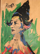 """Pablo Picasso Harlequin Clown Lithograph/Serigraph(?) On Paper 38x28"""" L.A,Calif."""