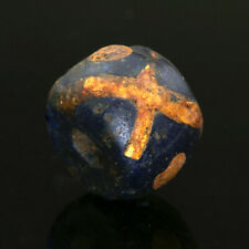 Extremely rare genuine ancient Roman beads: glass bead with gold-foil crosses