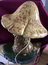 """Rare HTF Holland Mold 1973 Ceramic Mushroom Table Lamp Night Light 16"""" Tall (dd)"""