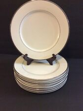"8 Wallace Porcelain WPO2 Dinner Plate 10 5/8"" White Platinum Trim Exc Cond"