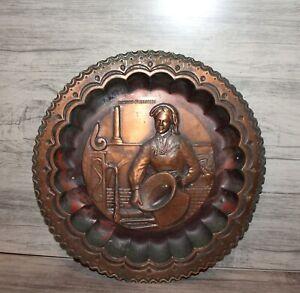 Vintage Italian Ricordo D'Abruzzo copper wall hanging plate