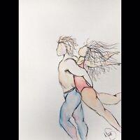 Maria Scalf Figures Dance Love ORIGINAL PAINTING Watercolor 9x12 Expressionism