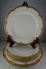 7 Haviland Limoges Antique Porcelain Plates White with Gold Feathered Edge
