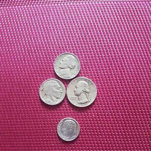 Lot de 4 monnaies USA . Five cents 1920, 1958. Quarter dollar 1944. 1 dime 1964.