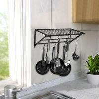 Kitchen Saucepan Pot Pan Rack Hanger Wall Mounted Hanging Storage Shelf Holder
