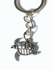 Sea Turtle Key Chain - silver crawling/swimming on chain - Us Seller Free Ship
