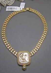 Antiquites Couture Greek Classical Goddess Fau Pearl Gold Tone Necklace NWT 1928