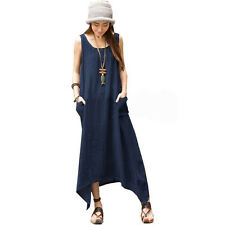 Women Cotton Linen Casual Loose A-line Long Maxi Shirt Dress Kaftan Summer Gypsy