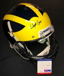 LLOYD CARR SIGNED MICHIGAN WOLVERINES FULL SIZE HELMET PSA/DNA COA AB60759