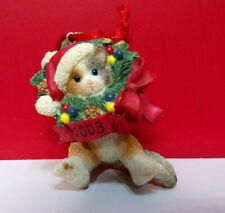 Calico Kittens Kitty Cat in Christmas Wreath dated 2003 Loose Hanging Ornament