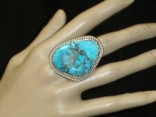 LARGE NAVAJO STERLING SILVER TURQUOISE RING SZ 8.75 NATIVE AMERICAN DEAD PAWN
