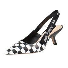 1181ba2b2b9 Christian Dior Black white Check J adior Slingback PUMPS Shoes 6 36