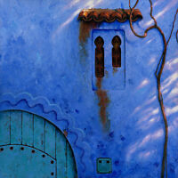 "ORIGINAL MARK HARRISON ""Chefchaouen Bleu"" Morocco Arabic North African PAINTING"