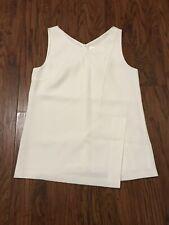 HUGO BOSS Women's V-Neck Sleeveless Lined Top Blouse White Sz 4