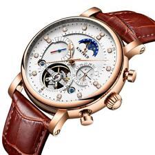 KINYUED Luxury Automatic Mechanical Skeleton Man Business Watch Moon Phase UK