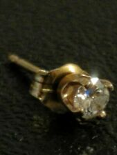 14K Diamond Stud Earring SINGLE Solitaire Yellow Gold .12ct 3.14mm Round Genuine