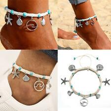 Anklet Beach Sandal Ankle Bracelet Gift Boho Starfish Turquoise Beads Sea Turtle