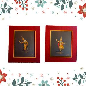 Pair Balinese dancers original art gouache paintings signed Wah Cheong HK framed