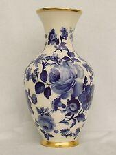 Porzellan Vase echt Kobalt Unterglasur OCA Kronach Rosendekor mit Goldrand Top