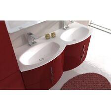 Mobile arredo bagno modero 138 sospeso curvo 4 colori doppio lavabo cristallo|gh