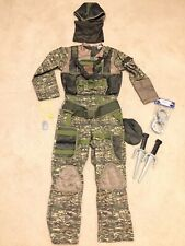 Boy Girl Special Forces Military Halloween Dress Up Costume Kids Sz 7-8 Knives +
