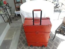 LARGE SWAINE ADENEY THE CHESTERFORD CHESTNUT RED LEATHER SUITCASE TRUNK STEAMER
