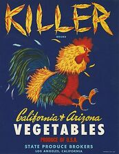 "RARE OLD ORIGINAL 1940 ROOSTER ""KILLER BRAND"" CRATE LABEL LOS ANGELES CALIFORNIA"