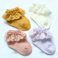 Girl First Walkers Toddler Newborn Baby Ruffle Socks Flower Ankle Sock Lace