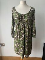 Boden Tunic Jersey Type Dress 60% Silk 40% Cotton Brown  Green Floral Size 14