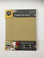 PAPIER DE VERRE x10 format 230x280mm PAPIER ABRASIF PONCAGE POLISSAGE PEINTURE