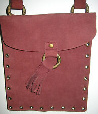 """NEW SUEDE Burgundy Cross-Body OLD NAVY Studded 8X9"""" Shoulder Bag w/Pouch Satchel"""