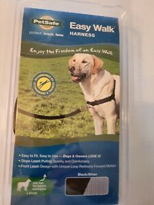 PETSAFE EASY WALK HARNESS SIZE LARGE SILVER AND BLACK protect,teach,love