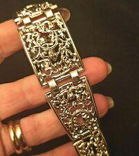 bracciale vintage anni 60 argento a traforo - retro Silver Tone  Bracelet