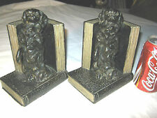 ANTIQUE RONSON METAL CHINESE PEKINGESE DOG ART STATUE SCULPTURE BOOKENDS ASIAN