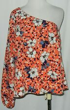 Willow Root One Shoulder Women's Top Sz M Multicolor Floral Long Sleeve #