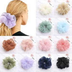 Women Shining Organza Big Hair Scrunchies Solid Plain Hair Gums Elastic Rubber