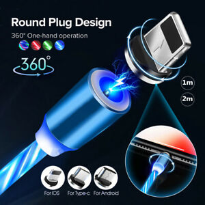LED Flowing Light Up Magnetic 2A Fast Charger Cable For Micro USB Samsung iPhone