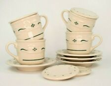 Longaberger Woven Traditions Heritage Green Cup Saucer Set of 4 w/ Lids Coasters
