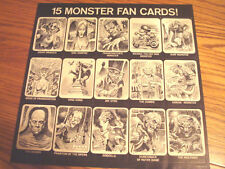 1964 JACK DAVIS MONSTER CARD SHEET FROM DRACULA'S HITS GENE MOSS RECORD LP