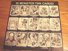 1964 JACK DAVIS MONSTER CARD SHEET FROM DRACULA'S HITS GENE MOSS RECORD LP