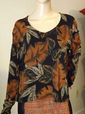 Chico's Travelers Stretchy Leaf Leaves Floral Scoop Neck Long Sleeve Top Size 2