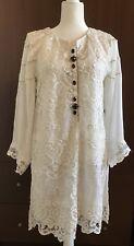 Womens White Kameez Kurti Tunic Kurta Lace Net Chiffon Embroidery Sz L