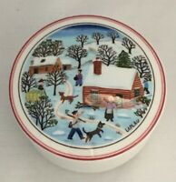 VTG Villeroy & Boch Gerard Laplau Porcelain Covered Trinket Box Winter Scene