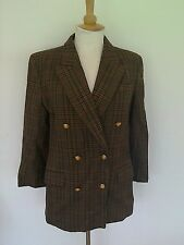LADIES PURE NEW WOOL BROWN CHECK LEAD REIN JACKET SIZE 14