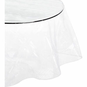 """Carnation Home Fashions Round Vinyl Tablecloth Protector 70"""" - Clear"""