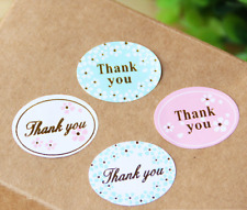 """24X Oval """"THANK YOU"""" Gold Foil Sticker/ Label/ Cookies Bag Sealer/ Gift Decor"""
