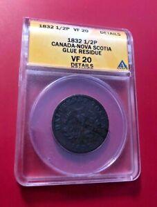 1832 1/2 PENNY ANACS VF 20 DETAILS CANADA-NOVA SCOTIA GLUE RESIDUE