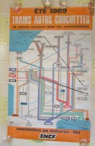 Affiche SNCF 1969 train autos couchettes plan lignes de france