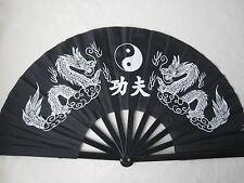 Tai Chi/Deko/Wand–Fächer mit Drachenmuster Wandfächer Schwarz